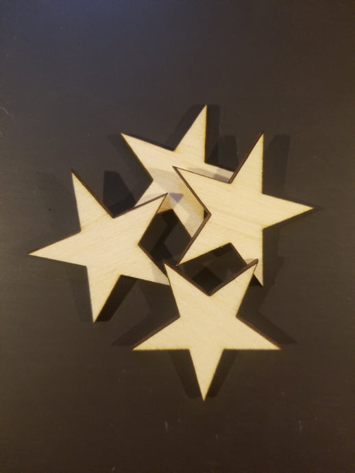 50 Laser Cut Wood Stars, Crafting Supplies