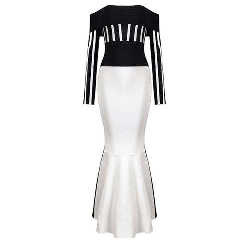 Yuveliza, a Sultry Stripe Off The Shoulder Slash Long Bodycon Dress