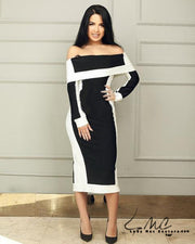 Bella, Exquisite Black and White Form Fitting Bodycon Dress