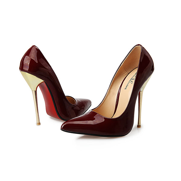 Red Bottom Sexy Pointed Shoe Super High Thin Spike Heel Pump