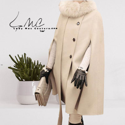 FWC  Winter Wool Blend Long Sleeve Cape Coat