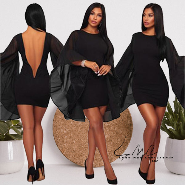 Yaya Black Chiffon Flare Sleeve Dress Sexy Bodycon Mini Dresses
