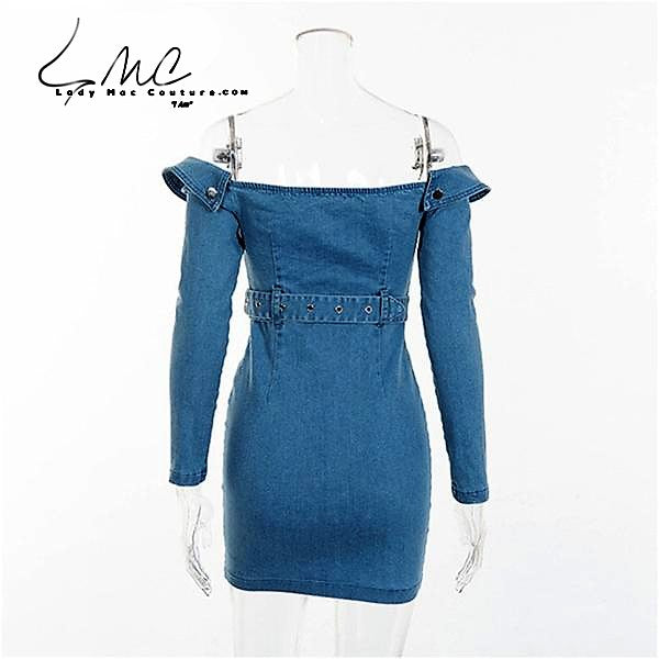 FQXY, Off Shoulder Skinny Denim Jeans Dress