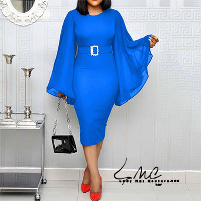 Ester, the Elegant African Ladies Part, Evening, and Office Midi Dresse
