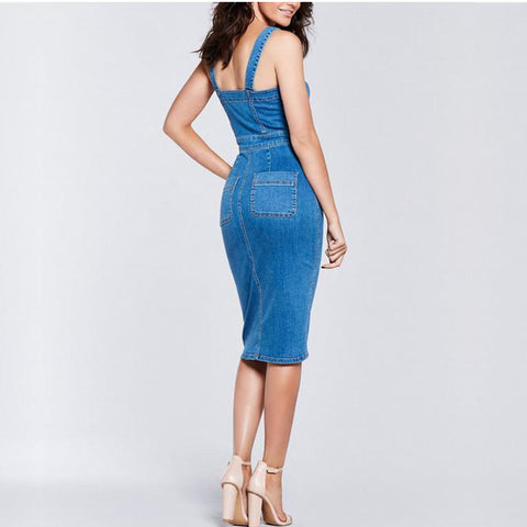 Colysmo, Sleeveless Casual Hang-Out Denim Dress