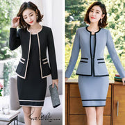 Fmasuth, Formal Full Sleeve Slim Jacket with Sleeveless Office Dress