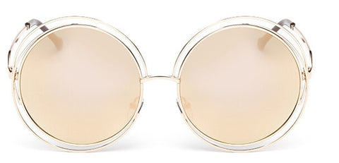 Stunning Vintage Big Round Oversized Mirror lens Sunglasses Women
