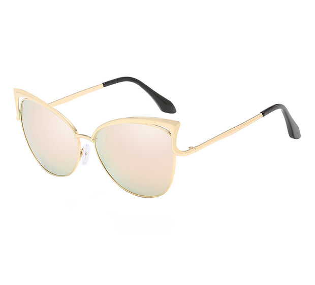 Trendy Gold Frame Mirror Oversize and Sexy Sunglasses