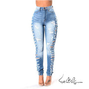 Lexi High Waist Side Ripped Skinny Jeans