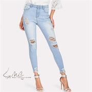 Natalia Bleach-Washed Ripped Jeans