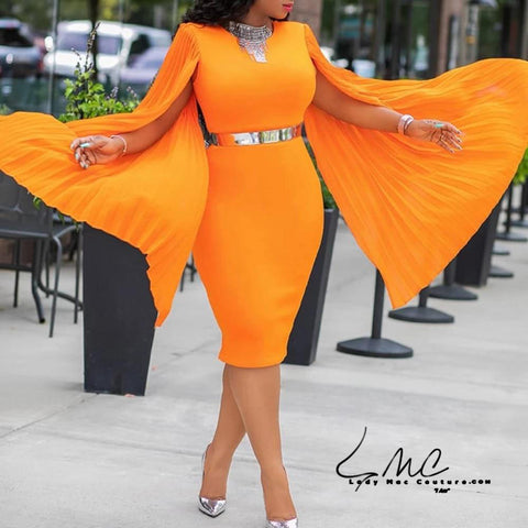 Yedell, Orange Long Sleeve Evening Dinner Party Dress