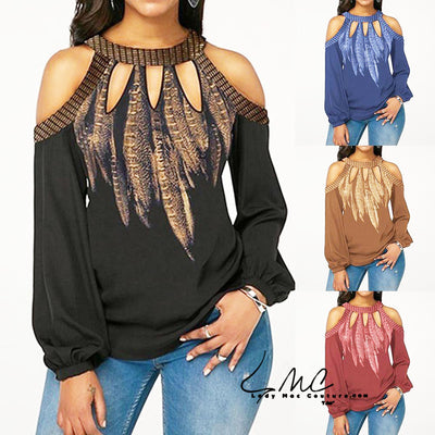 Sylvia, Plus Size Hot Fashion Feather Print  Chiffon Women's Blouse