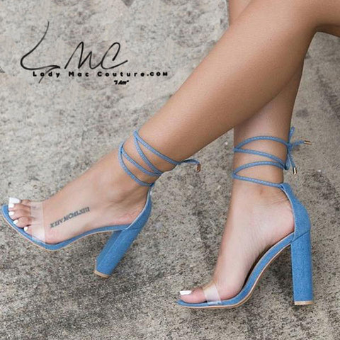 Bree Ankle Lace Transparent Open Toe Block Heel Sandal