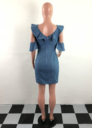 Kamora, Lovely Ruffed Neck and Shoulder Mini A line Dress