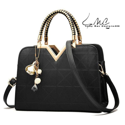 "New Summer ""V"" Style Luxury Shoulder Bag with Accent Charms"
