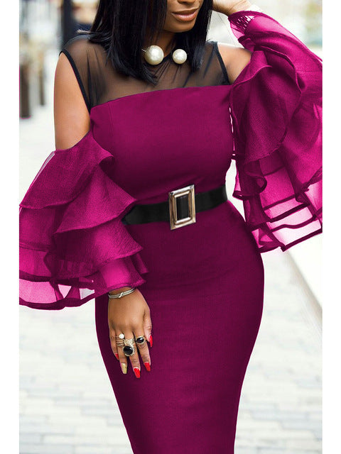 Women Dress Patchwork Cold Shoulder with Waist Belt Sexy Bodycon Robes Black Tulle See Through Evening Party Clubwear Plus Size