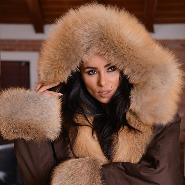 Tatyana, High Fashion Real Gold Fox Fur Parka Collar and Cuff