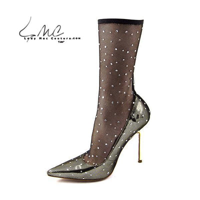 Trendy New Gold Fishnet Pumps High Heel Sock Boots