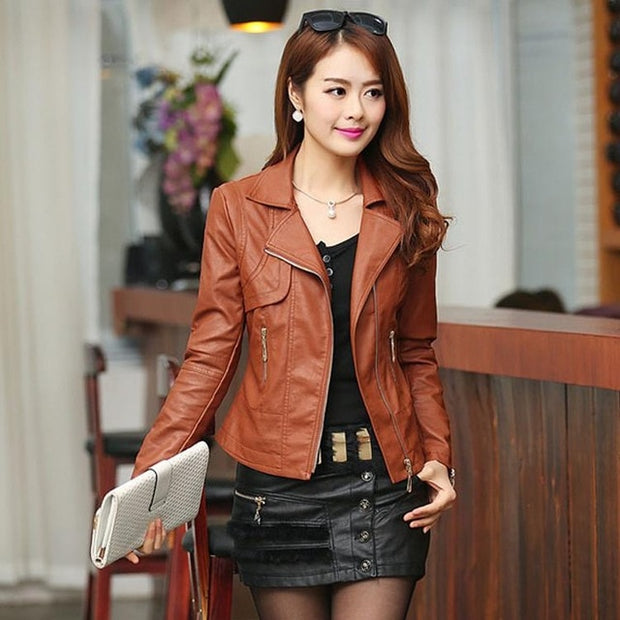 Sexy and Beautiful Pu Leather Jacket Autumn, Spring Motor Coat,  Zippers Punk Style