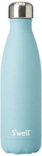 S'well AQST-17-A17 Vacuum Insulated Double Wall Stainless Steel Bottle, 17 oz, Aquamarine