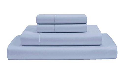 AUDLEY HOME ORGANICS 100% Organic Cotton 4 Piece Bed Sheet Set GOTS Certified 300 Thread Count Hypoallergenic Bedding Upto 18 Inch Deep Super Soft Cool Marrow Stitch (Sky Blue, Queen)