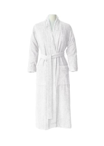Nine Space Pleated Bathrobe, Small/Medium, White