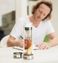 Load image into Gallery viewer, The Sacred Glass Tea Tumbler with Infuser + Strainer for Loose Leaf or Ice Tea. 14oz Cold Brew Coffee Mug or Fruit Water Travel Bottle. Free Sleeve. Beautifully Packaged.