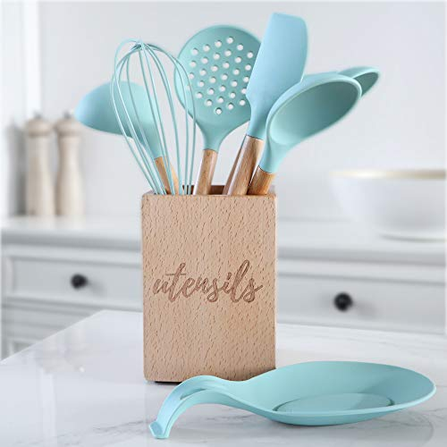 Silicone Cooking Utensils Set, Turquoise Kitchen Utensils - Includes Wood  Utensil Caddy, Basting Spoon, Slotted Spoon, Silicone Ladle, Silicone  Whisk, ...