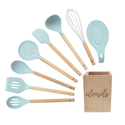 Silicone Cooking Utensils Set, Turquoise Kitchen Utensils - Includes Wood Utensil Caddy, Basting Spoon, Slotted Spoon, Silicone Ladle, Silicone Whisk, Turner, Silicone Spatula, Skimmer, Spoon Rest