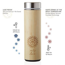 Load image into Gallery viewer, Bamboo Tumbler 18 oz Thermos for Loose Leaf Tea, Coffee Mug & Fruit Water w/Stainless Steel Infuser. Vacuum Insulated Travel Bottle. Leak Proof + BPA Free. Beautifully Packaged with Gift Card + Poem.