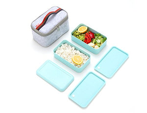 Bento Box, Wheat Straw Portable Leakproof Lunch Box with Lunch Bag, Eco-friendly Food Storage Container for kids, Microwave/Dishwasher/freezer safe.(Green)