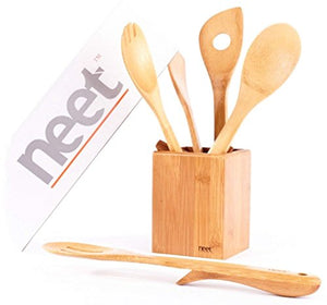 Organic Bamboo Cooking Utensils Set, Unique Elevation Feature, 6 Piece Set, Wooden Spoons Spatula, Kitchen Utensil Set, High Heat Resistant, Wood Serving Spoon, Eco-Friendly & Biodegradable Gift Idea