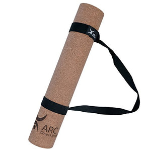 "CORK YOGA NON-SLIP MAT + FREE YOGA STRAP (72"" x 24"" x 4mm thick)- NATURAL RUBBER, Eco Friendly, Non-Toxic, Latex Free, Antimicrobial, 100% Biodegradable. YOGA INSTRUCTOR'S CHOICE"