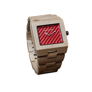 "The Garwood American Maple Wood Watch – ""Great Dane"" – Square – Analog – 12-Month Warranty"