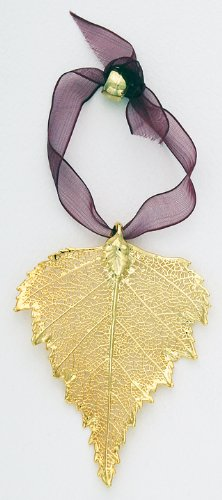 Curious Designs Birch Leaf Ornament - Real Leaf Dipped in Gold, Approx Two Inches