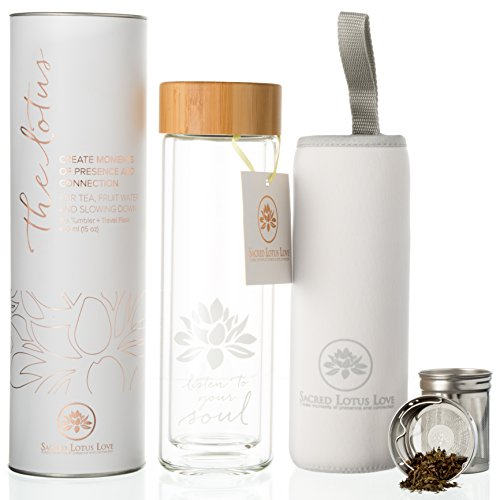 The Lotus Glass Tea Tumbler with Infuser + Strainer for Loose Leaf Tea, Coffee and Fruit Water. Inc Travel Sleeve. 15oz Bottle with Bamboo Lid. Perfect Gift. Soulful Design. Beautifully Packaged.