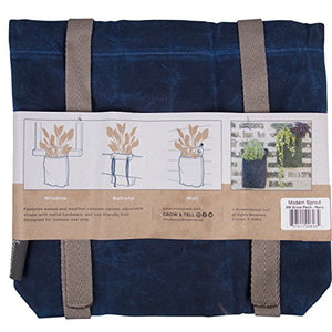 Grow Bag - Hanging Planter - Weather Resistant Canvas Plant Sack By Modern Sprout (Navy, Small)