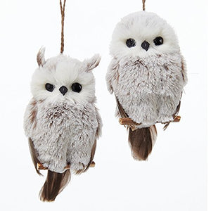 Kurt Adler 1 Set 2 Assorted Brown And White Owl Ornaments,white, grey