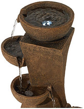 "Load image into Gallery viewer, Cascading Bowls 27 1/2"" High Water Fountain with LED Light"