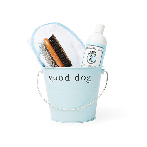 Harry Barker Dog Spa Day Gift Set: Includes 100% Cotton Terry Cloth Robe, Bamboo Brush, Shea Butter Shampoo/Conditioner, Recycled Steel Gift Bucket (S, Blue)