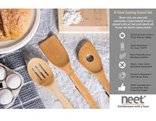 Load image into Gallery viewer, Organic Bamboo Cooking Utensils Set, Unique Elevation Feature, 6 Piece Set, Wooden Spoons Spatula, Kitchen Utensil Set, High Heat Resistant, Wood Serving Spoon, Eco-Friendly & Biodegradable Gift Idea