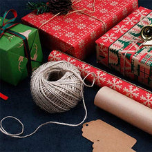 Load image into Gallery viewer, RUSPEPA Christmas Gift Wrapping Paper - Brown Kraft Paper with Red and Green Pattern for Gift-Christmas Elements Collection-6 Roll-30Inch X 10Feet Per Roll