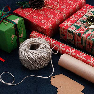 RUSPEPA Christmas Gift Wrapping Paper - Brown Kraft Paper with Red and Green Pattern for Gift-Christmas Elements Collection-6 Roll-30Inch X 10Feet Per Roll