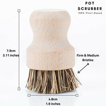 Load image into Gallery viewer, Wood and Tampico Bottle Brush - Pot Brush - Vegetable Brush Set - Zero Waste & Biodegradable Kitchen Brushes