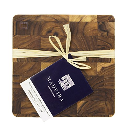 Madeira by Architec 1037 End Grain Teak Chop Block Serving Board and Food Prep, 8 by 8