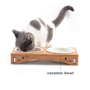 Ceramic Pet Cat Bowls Small Dog Bowls for Food and Water with Elavated Bamboo Stand