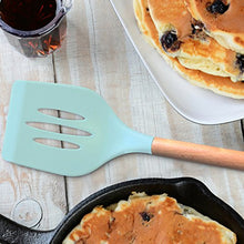 Load image into Gallery viewer, Silicone Cooking Utensils Set, Turquoise Kitchen Utensils - Includes Wood Utensil Caddy, Basting Spoon, Slotted Spoon, Silicone Ladle, Silicone Whisk, Turner, Silicone Spatula, Skimmer, Spoon Rest