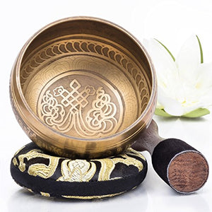 Silent Mind ~ Tibetan Singing Bowl Set ~ Bronze Mantra Design ~ With Mallet & Silk Cushion ~ For Meditation, Chakra Healing, Yoga, and Mindfulness ~ Perfect Gift