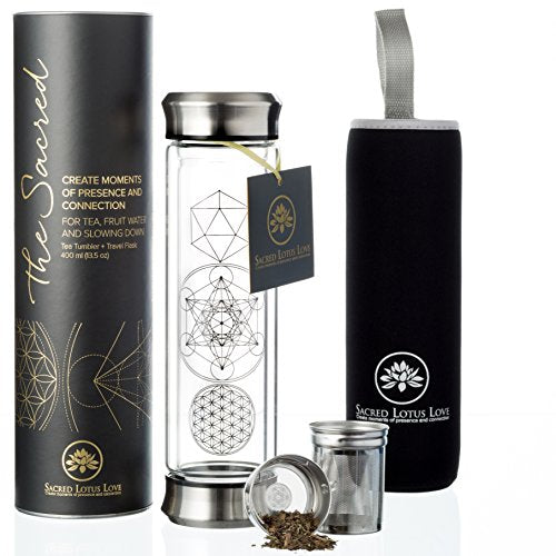 The Sacred Glass Tea Tumbler with Infuser + Strainer for Loose Leaf or Ice Tea. 14oz Cold Brew Coffee Mug or Fruit Water Travel Bottle. Free Sleeve. Beautifully Packaged.