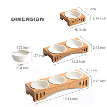 Load image into Gallery viewer, Ceramic Pet Cat Bowls Small Dog Bowls for Food and Water with Elavated Bamboo Stand